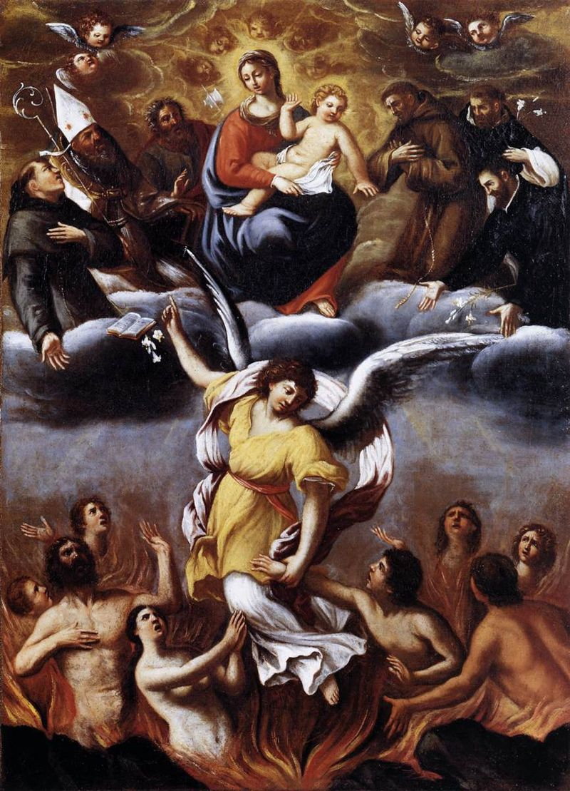 An Angel Frees the Souls of Purgatory By Lodovico Carracci, c.1610